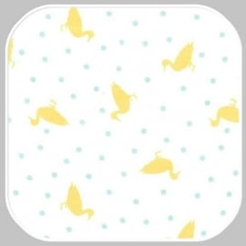 dottie ducks on cotton flannel CF6523-AQUA