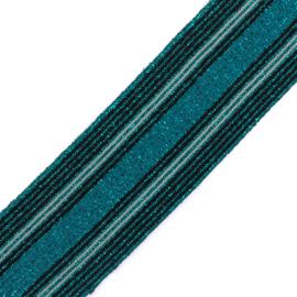 Elastiek  | 5 cm breed | Multistripe Black - Teal - Petrol Lurex