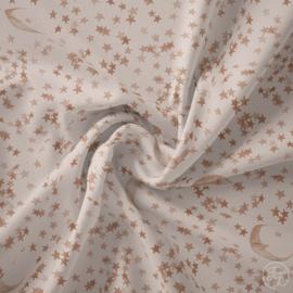 Family Fabrics   Tricot Print   Moons & Stars - Latte