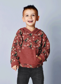 Tricot French Terry |  Dinosaurs - Dark Red