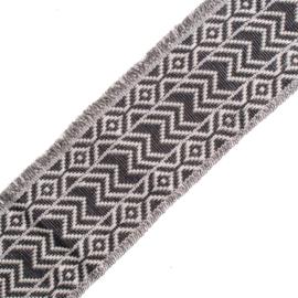 Band Jaquard | Fringe  | Zig Zag | Black - Ivory - Silver  | 5 cm breed