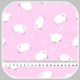 little lambs on cotton flannel CF6525-PINK