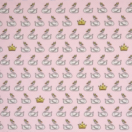 decostof Tango | zwaan - kroon | roze