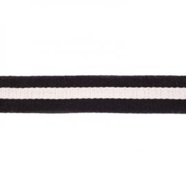 Tassenband Katoen | Brede Streep - Zwart | 4cm breed