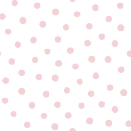 double gauze  dots | white - pink