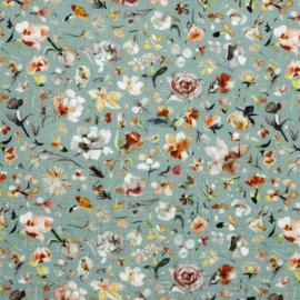 Double Gauze | GOTS | Floral - Dusty Mint
