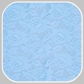 rekbaar kantstof/ licht blauw met bloemmotief