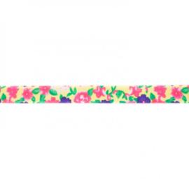 41258 elastisch biaisband bloem geel 15mm
