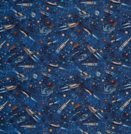 Katoen Print | Swafing -  Space ship  - Blue