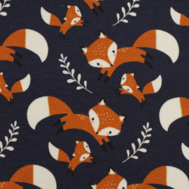 Tricot Print | Swafing - Vosjes - Donkerblauw