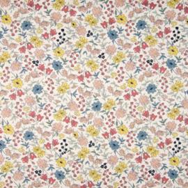 Katoen Print | Flowers | Yellow - Soft Pink  - Blue 031