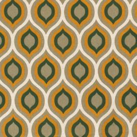 Decostof | Linnenlook  | Abstract Oval  - Ochre  - Green