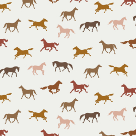 Tricot Print GOTS | Horses  - Off White