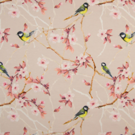 Tricot Digitaal | Japanese flowers - Bird - Pink