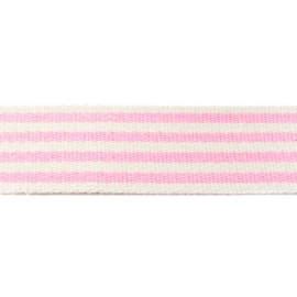 Tassenband Katoen | Streep - Lichtroze | 4cm breed