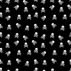 Katoen Print | Swafing -  Skull   - Black - White