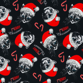 Swafing  Tricot - Theo  -  Santa Pussycat  - Black - Red