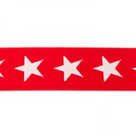 elastiek band- ster rood/ 4 cm
