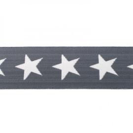elastiek band- ster grijs/ 4 cm