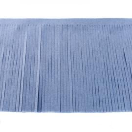 Suedine franjeband | jeansblauw 30388 | 12 cm breed