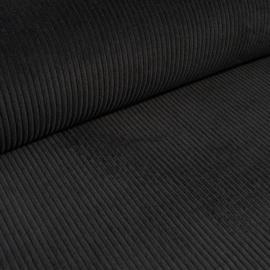Ribcord washed  ( brede rib 4,5w) | Zwart 001