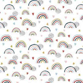 GOTS | Tricot Print  Rainbows - White
