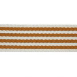 Tassenband Katoen | Streep - Oker | 4cm breed