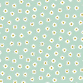 Katoen Poplin | Daisy Flower - Mint