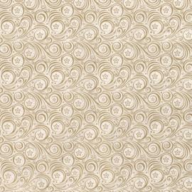 Katoen print | Kerst - Swirl - Ecru - Gold