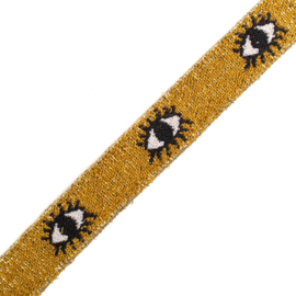 Elastiek jaquard | Eye - Gold Lurex | 2 cm breed