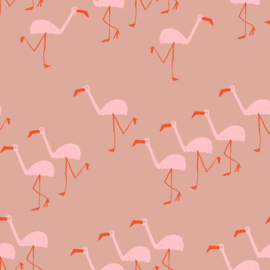 About Blue Fabrics |  French Terry | Wonders of Life - Flamingo