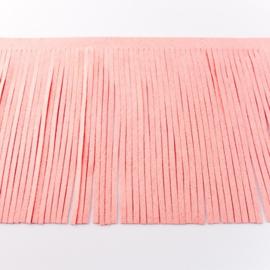 Suedine franjeband | roze 28003 | 12 cm breed