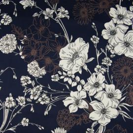 Katoen - Satijn Print | Stretch | Flowers - Dark Blue