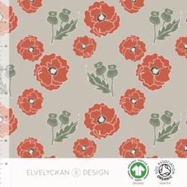 Elvelyckan Design | French Terry - Poppy  | Grey - Organic