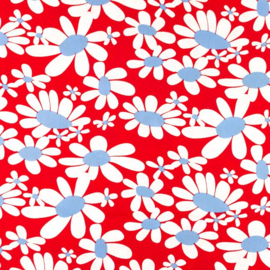 Katoen Poplin Print | Flowers Retro - Red