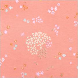 Tricot print | Pink - Bloemen - Goudprint | Rico-Design