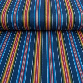 Decostof |  Mexicaans multicolor blauw - oker  streep