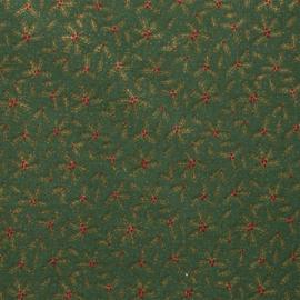 Katoen - Kerst | Groen  - Hulstblaadjes
