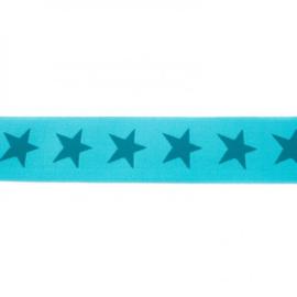 elastiek  ster | turquoise - petrol | 4 cm breed