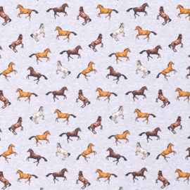 French Terry Brushed |  Horses - Grey Melange