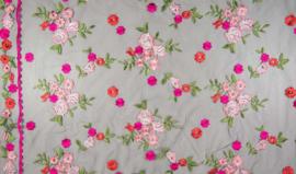 Mesh Espagnol | WI9771-001 roze ( zwarte tule )