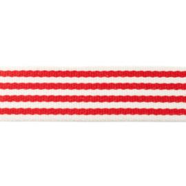 Tassenband Katoen | Streep - Rood |  4cm breed
