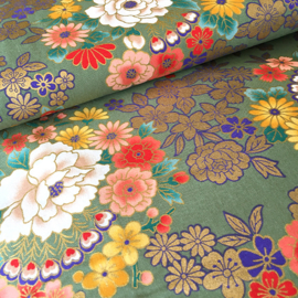 Japanese Floral Print | Kinran - Green - Cotton