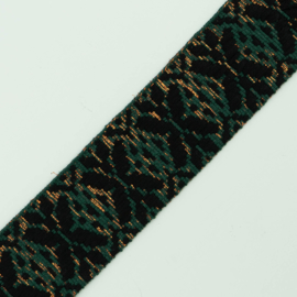 Band Jaquard |  Green - Black - Bronze - Lurex | 4 cm breed