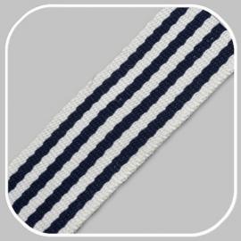 Tassenband Katoen | Streep - Donkerblauw  |  4cm breed