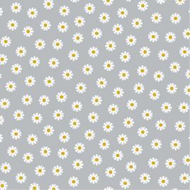 Katoen Poplin | Daisy Flower - Light Grey