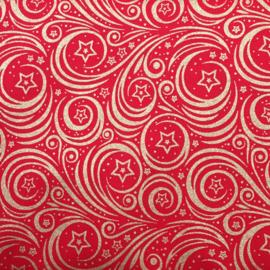 Katoen print | Kerst - Swirl - Red - Gold