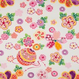 Katoen Poplin Print | Flowers  | Pink - Orange - Ecru