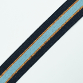 Elastiek Streep | Navy - Copper Lurex - Ice Blue | 3 cm breed