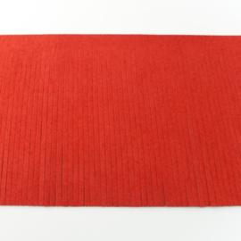 Suedine franjeband | Steenrood 50001 | 12cm breed